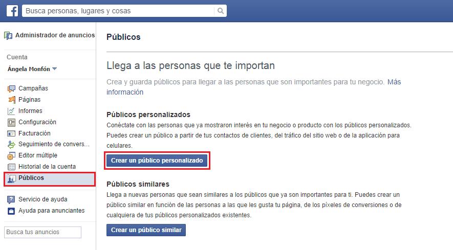 Web Custom Audiences en Administrador de Anuncios de Facebook
