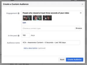 Etape finale de la création d'une audience personnalisée vidéo