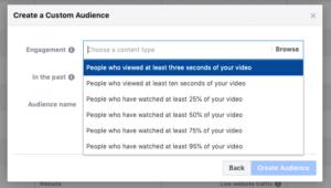 aperçu des différentes option d'engagement vidéo
