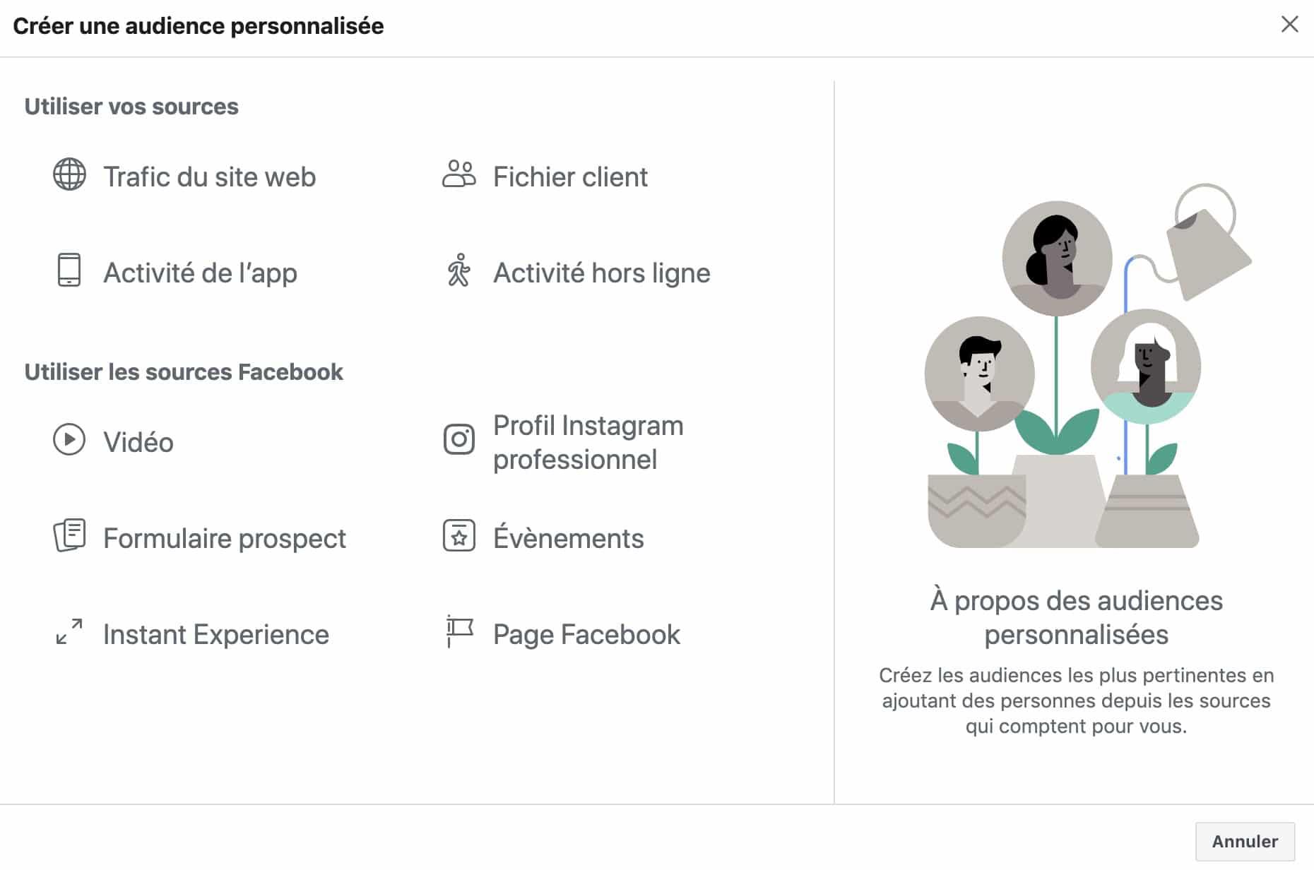 créer une audience personnalisé basée sur la page Facebook pour vos publicités Facebook