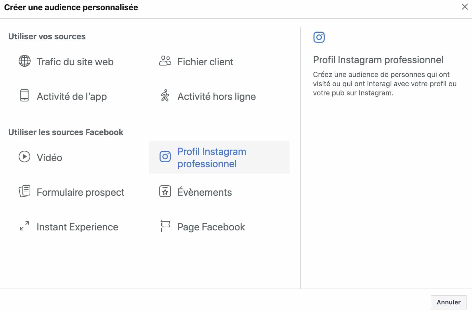 créer une audience personnalisé basée sur votre compte Instagram pour vos publicités Facebook
