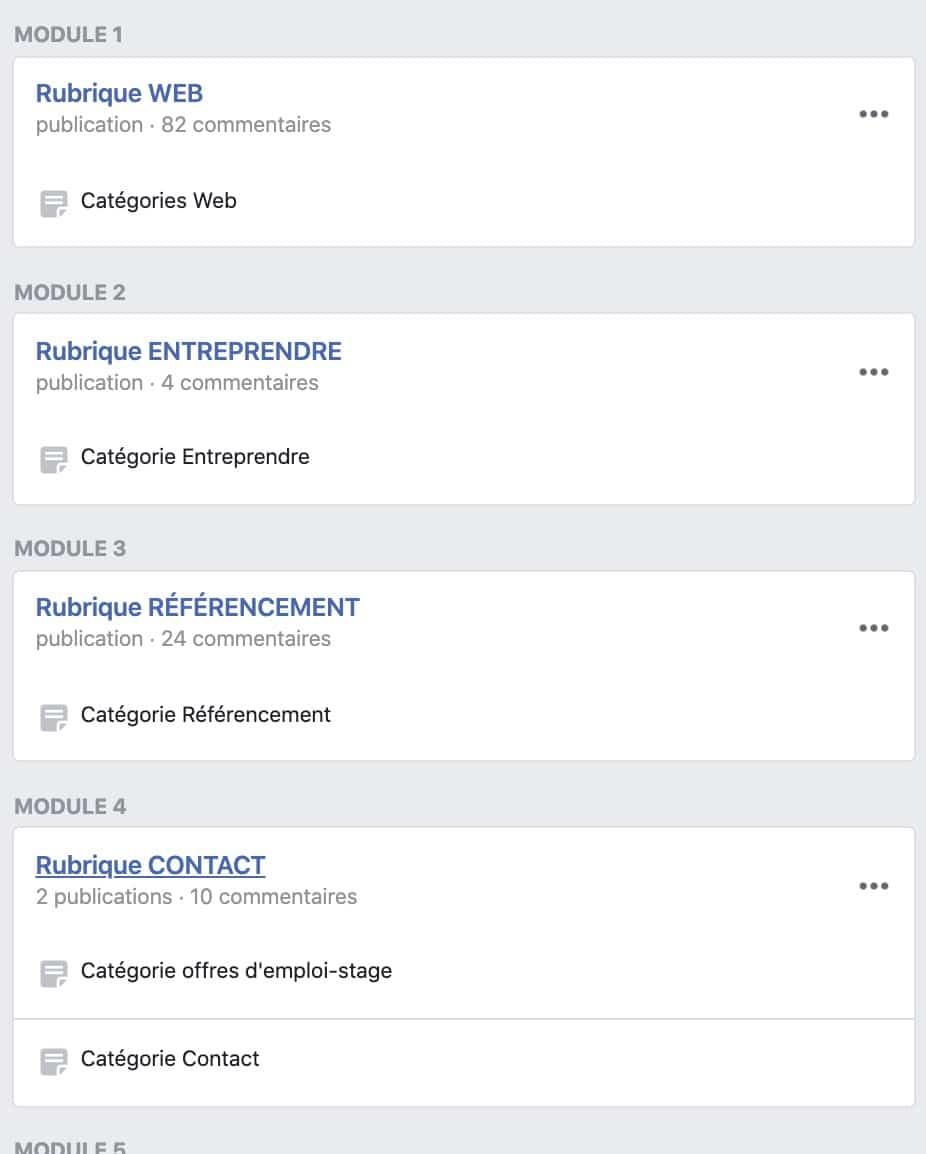 aperçu des modules dans les groupes Facebook