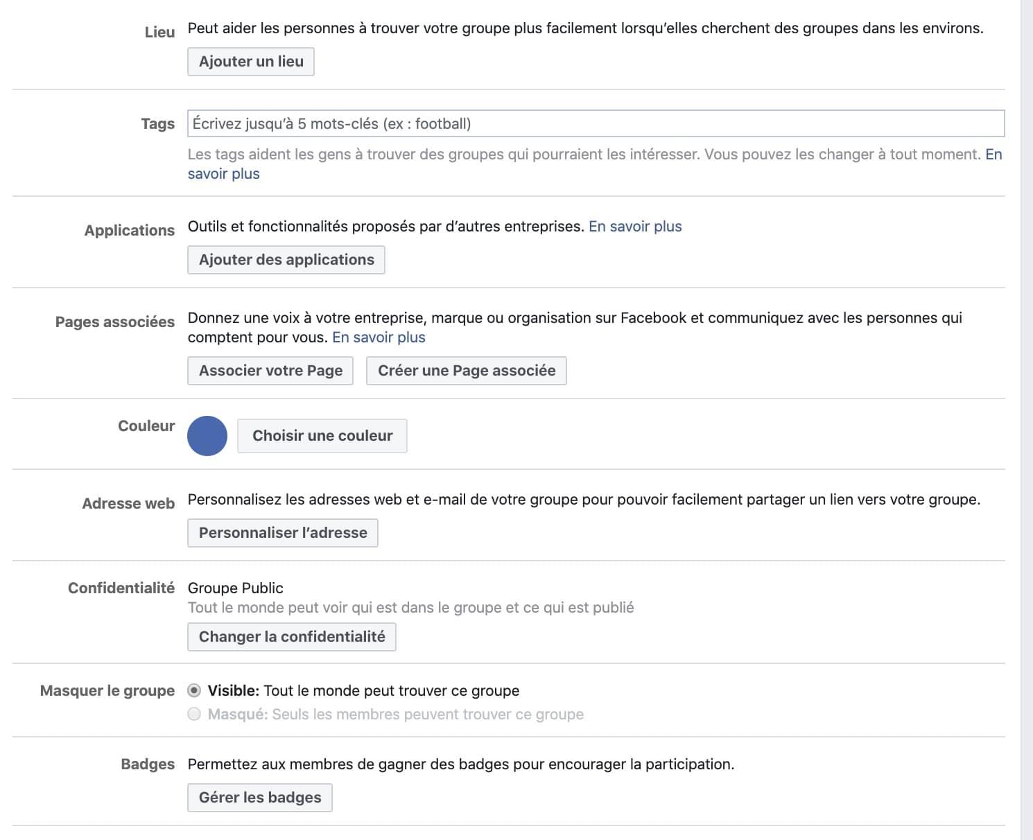 différents paramètres à personnaliser groupe Facebook