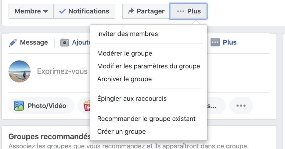 endroit pour changer le nom d'un groupe Facebook