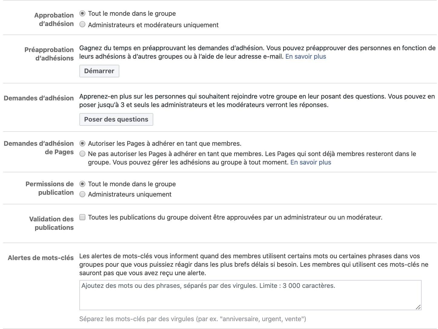 paramètres à personnaliser groupe Facebook