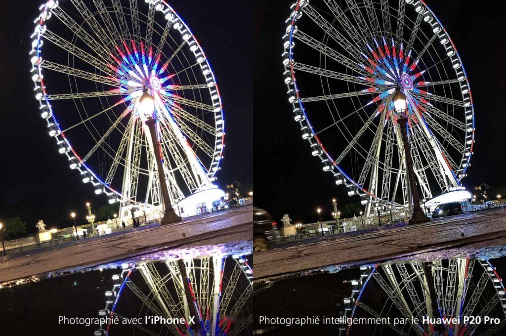 comparaison de l'appareil photo sur un iPhone X ou un Huawei