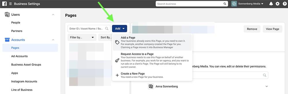 comment ajouter une page au business manager