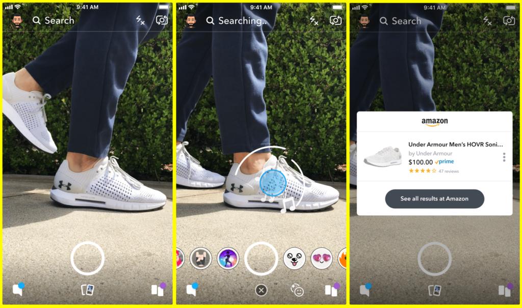 aperçu du fonctionnement de la recherche visuelle sur Snapchat