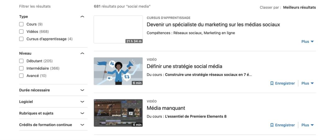 Exemple de cours social media sur LinkedIn Learning