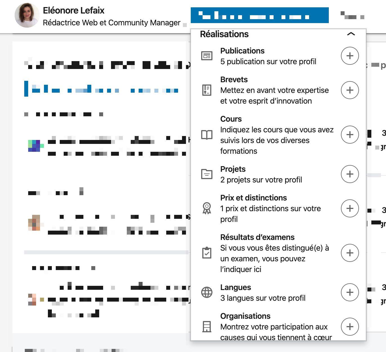 """Les informations à ajouter dans la section """"Réalisations"""" sur LinkedIn"""