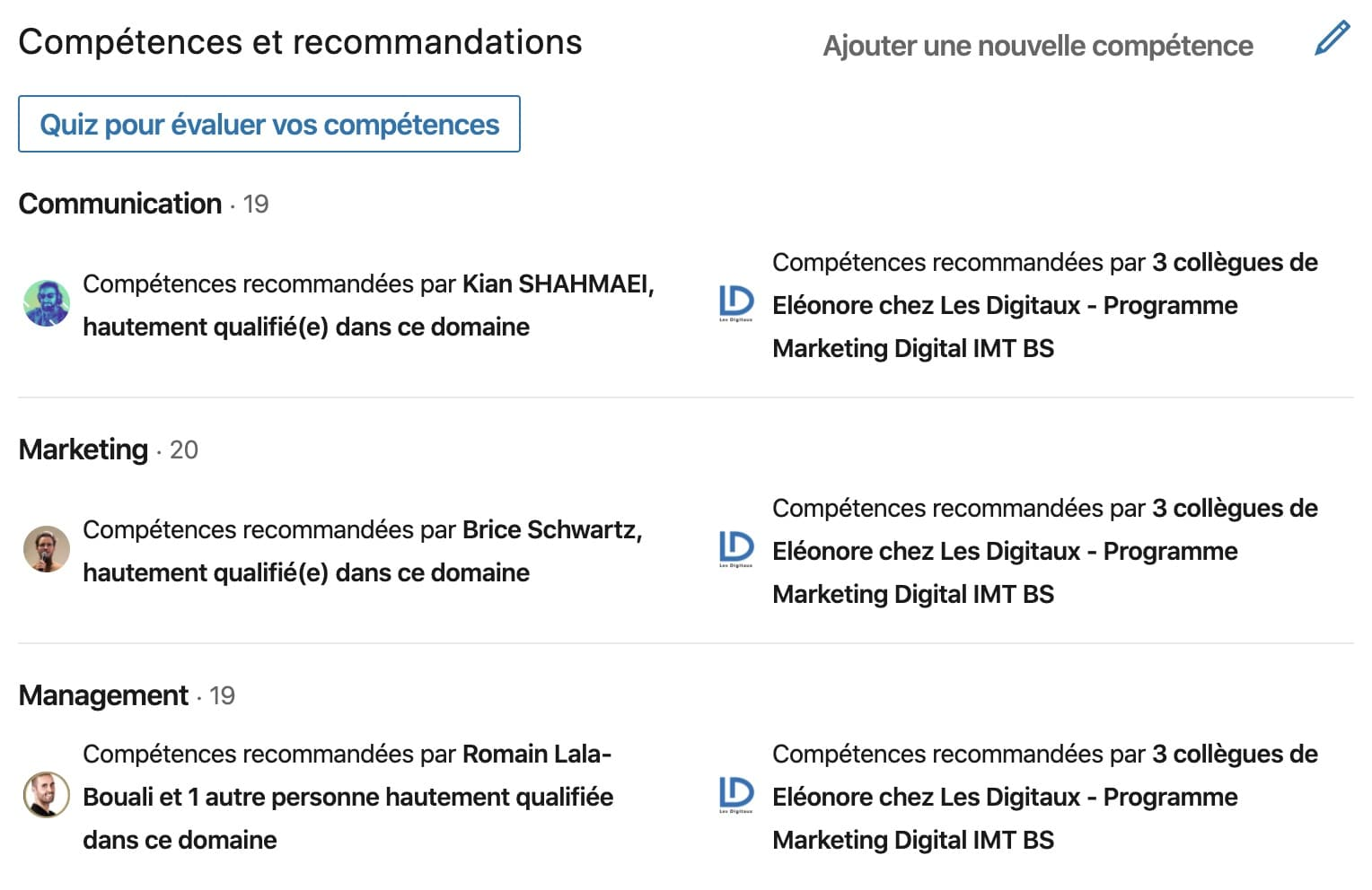 """La section """"Compétences et Recommandations """"sur LinkedIn"""
