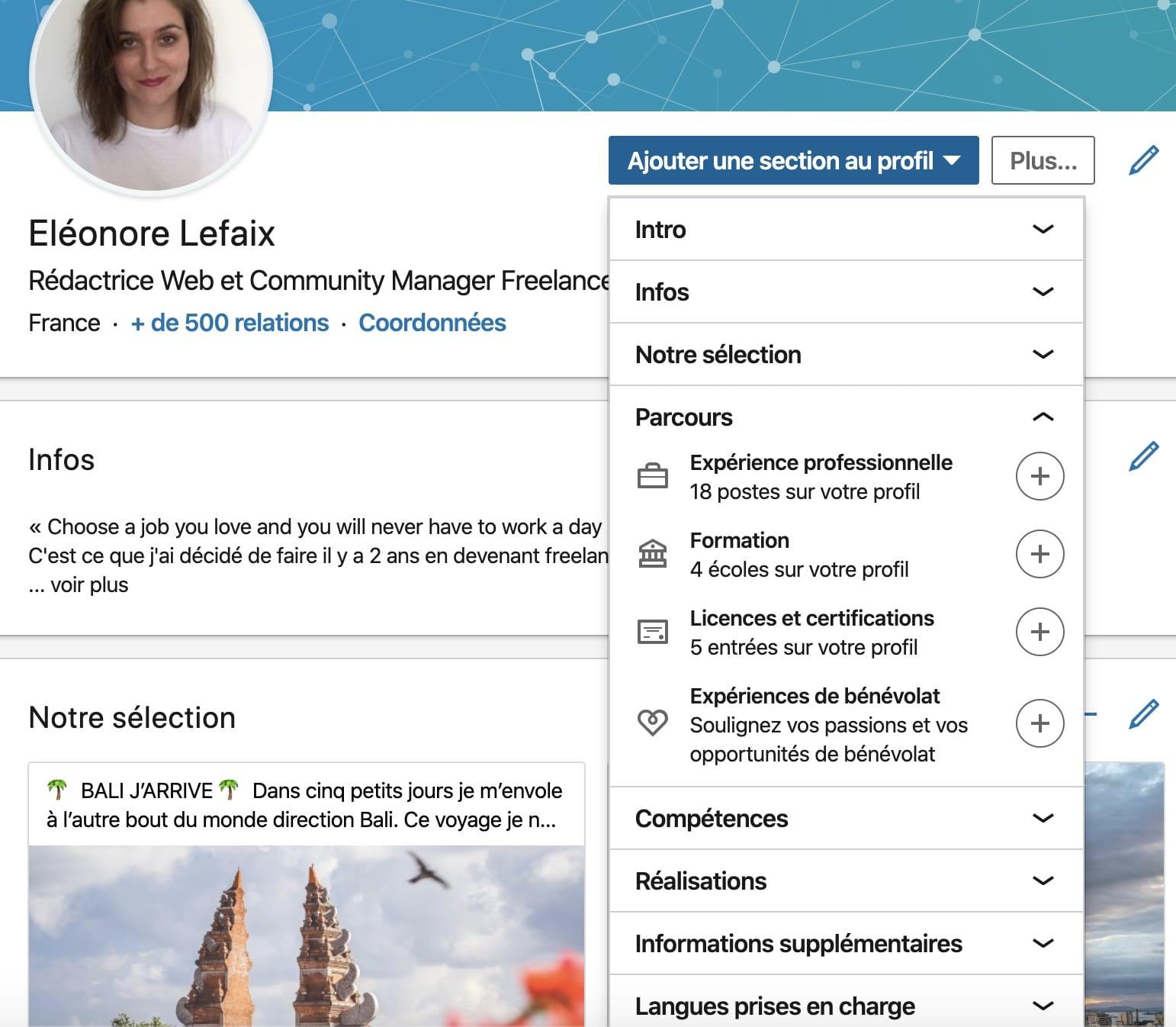 Les différentes sections d'un profil sur LinkedIn