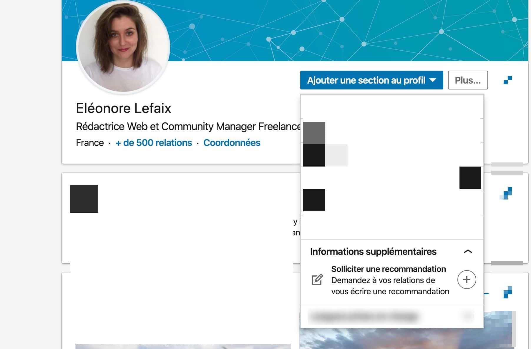 Section pour obtenir des recommandation sur LinkedIn
