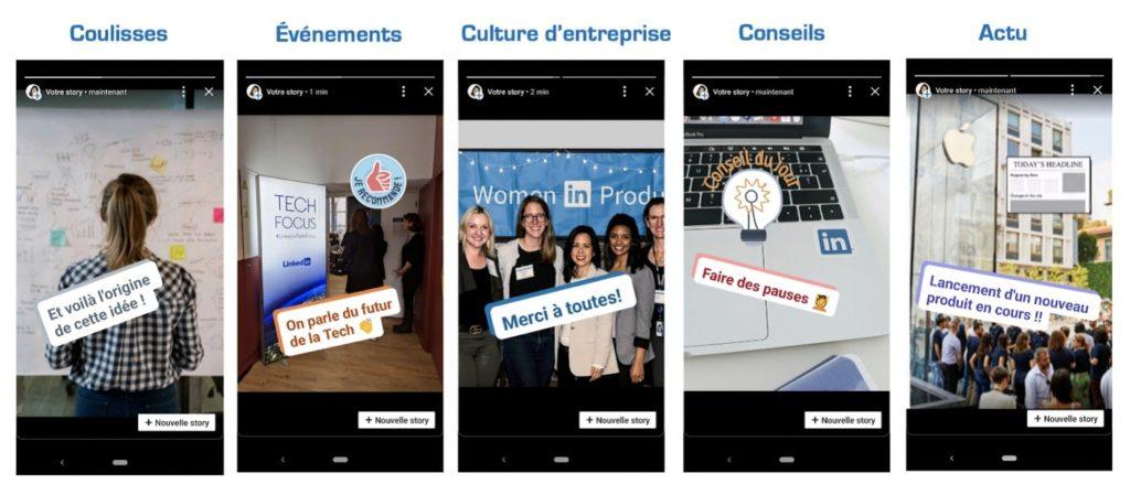 une story Linkedin créée par une entreprise