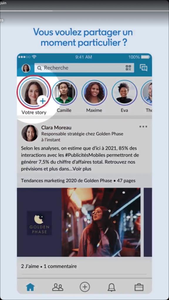 pour créer une story linkedin, cliquez sur l'icone +