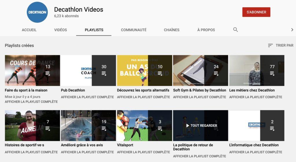 playlists de la chaîne YouTube de Décathlon