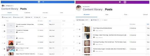 les différentes bibliothèques de contenus dans le Facebook Creator Studio
