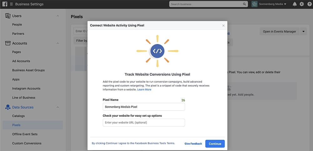 connecter le pixel Facebook au Business Manager