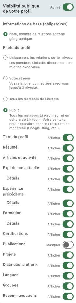 paramètres de visibilité sur LinkedIn