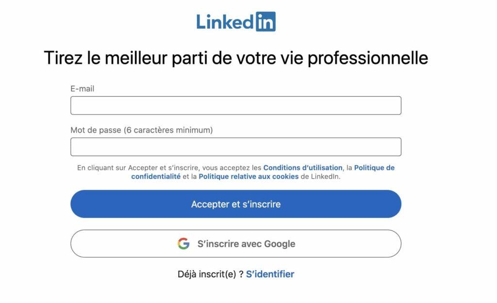 page d'inscription sur LinkedIn