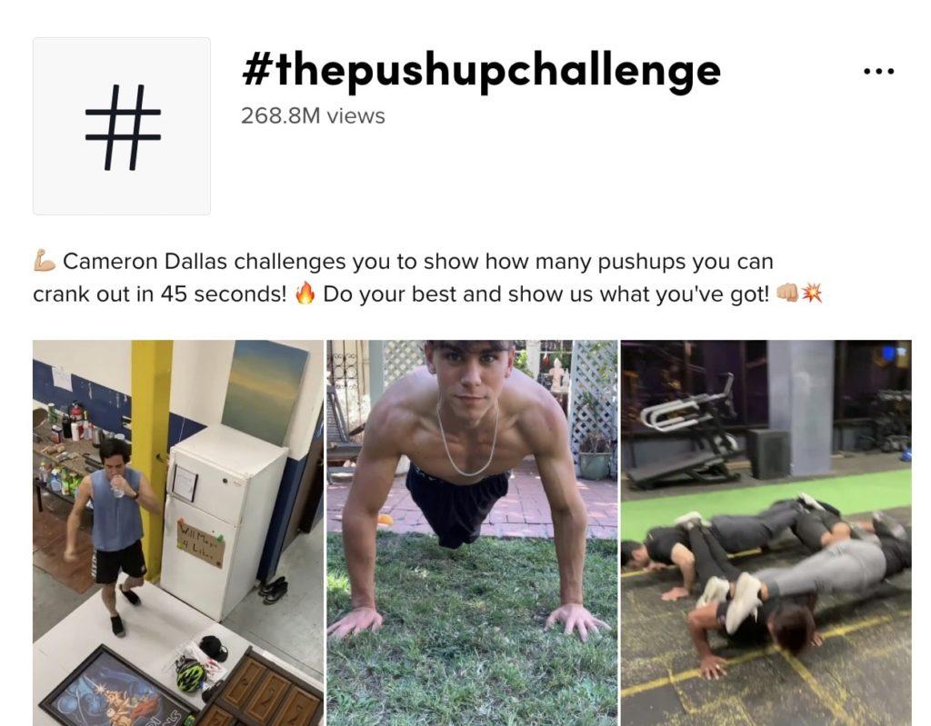 exemple de challenge TikTok devenu viral, le #thepushupchallenge