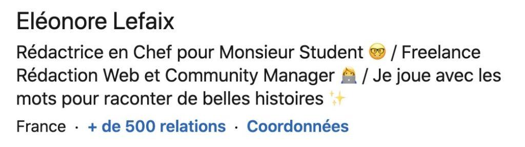 exemple de titre de profil sur LinkedIn