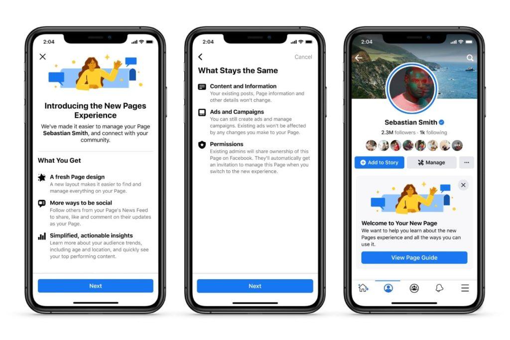 Les nouvelles pages Facebook entreprises ont été annoncées en janvier 2021