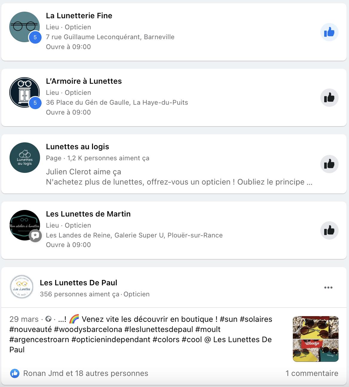 pages lieux facebook : exemple de recherche locale