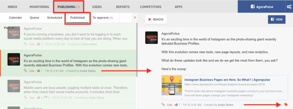 Tagguer un contenu sur Agorapulse