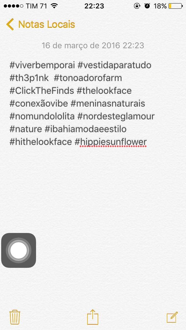 Salve hashtags utilizadas com frequência para fácil copiar e colar em suas legendas.