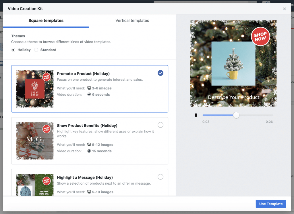 Facebook Creation Kit Holiday Theme