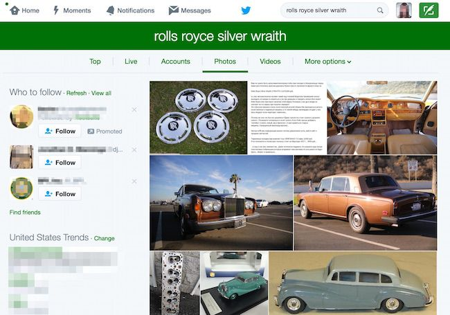 Twitter search for Rolls Royce Silver Wraith