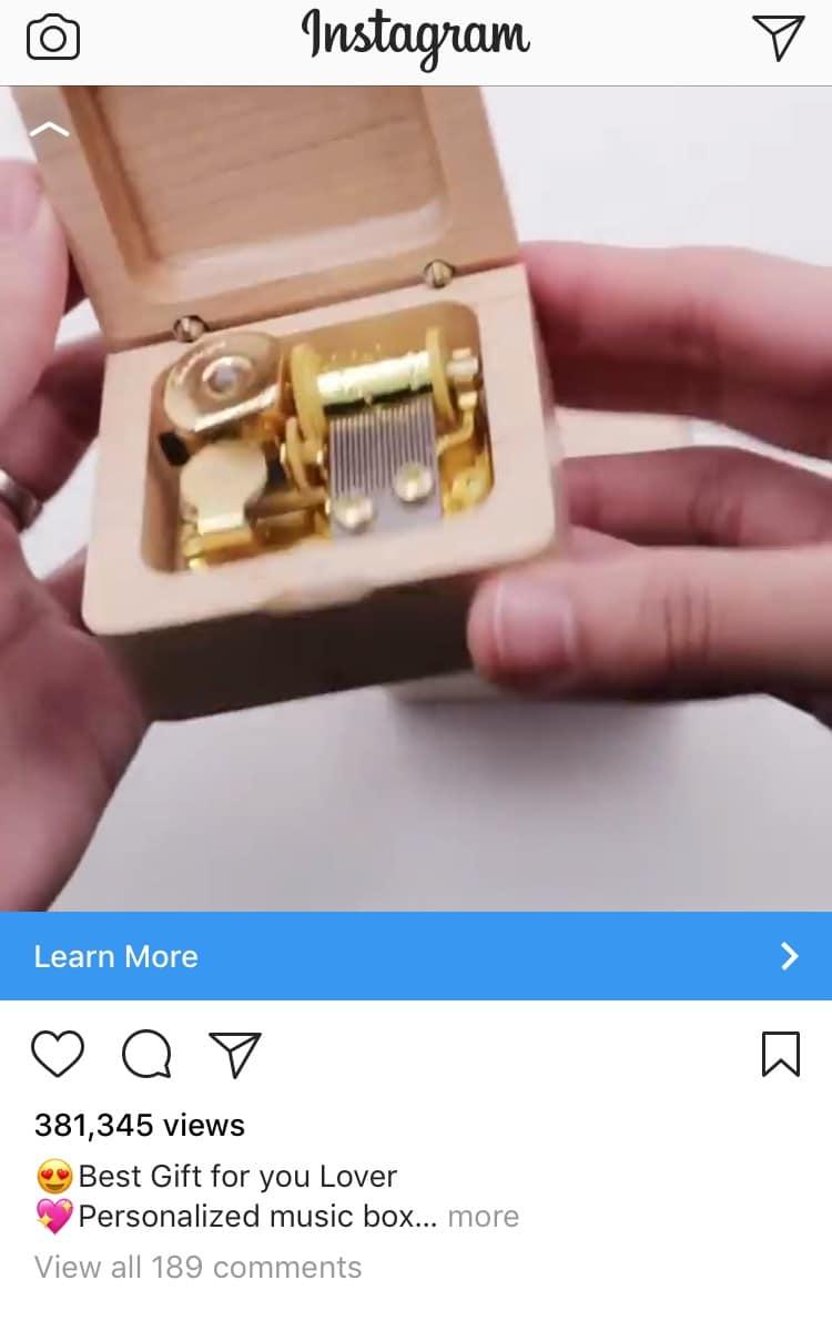 2. Instagram feed ad