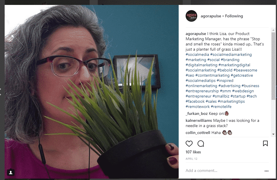 agorapulse Instagram hashtags in post