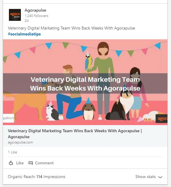 agorapulse linkedin post with hashtags example