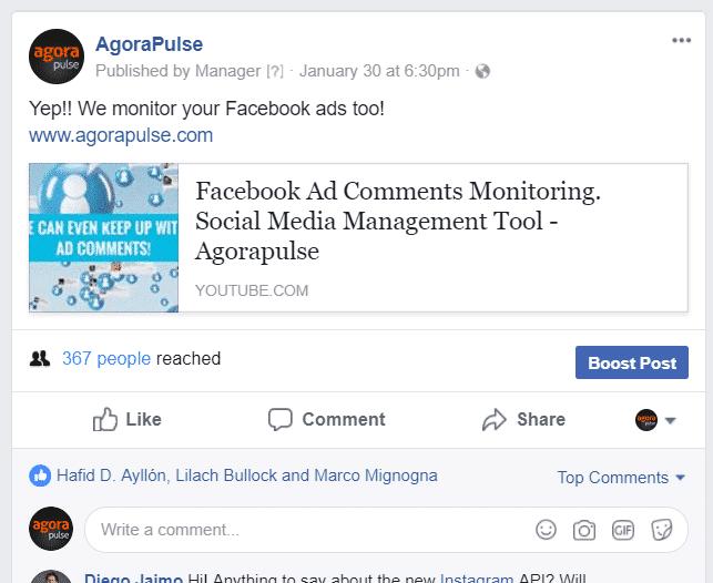 agorapulse youtube post