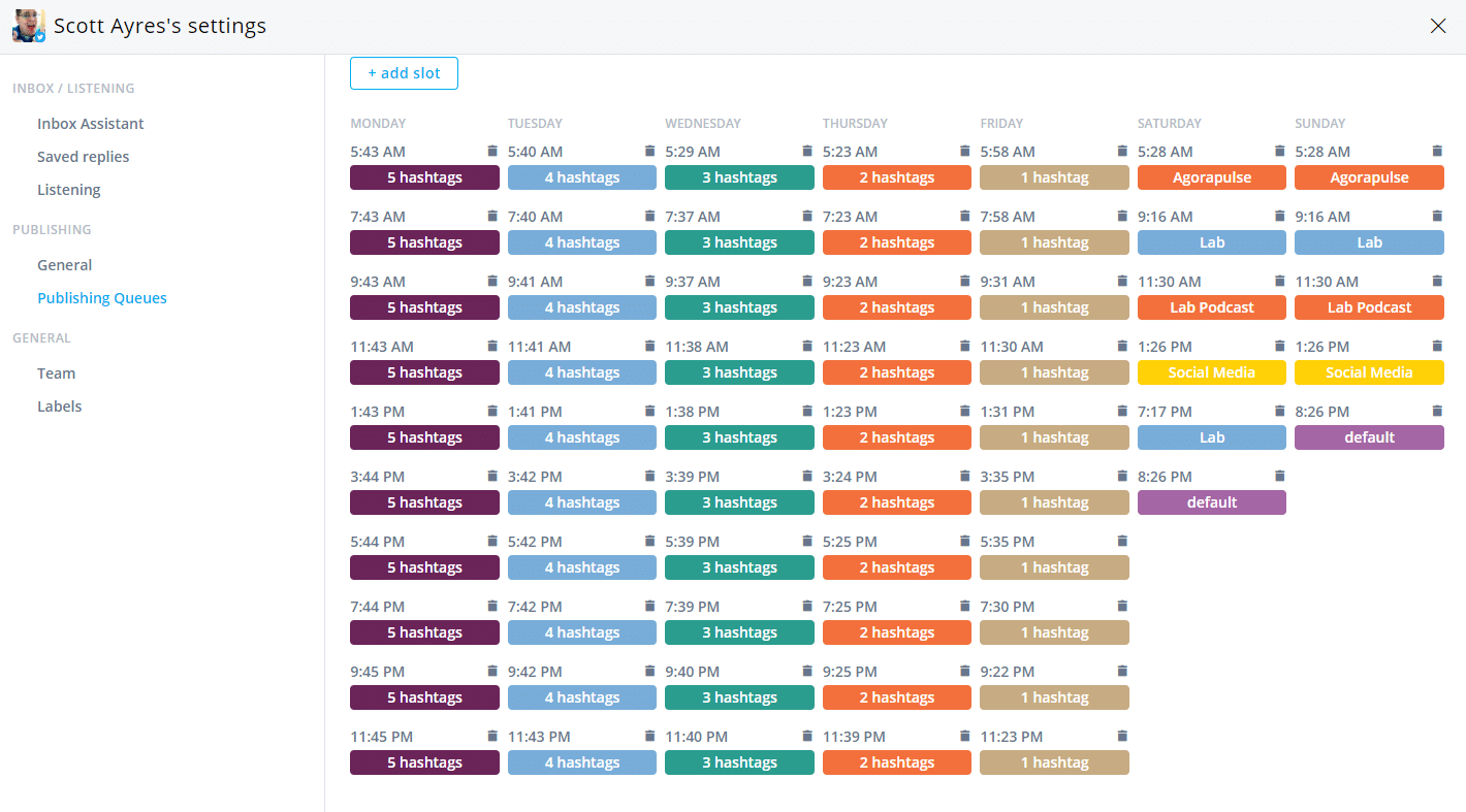 hashtag schedule