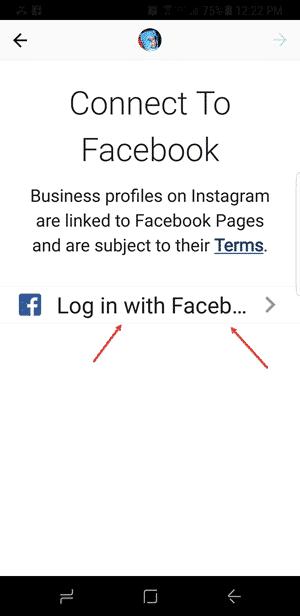 log into facebook on instagram
