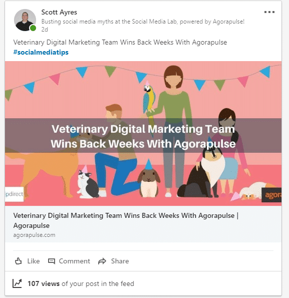 scottayres linkedin post with hashtags example