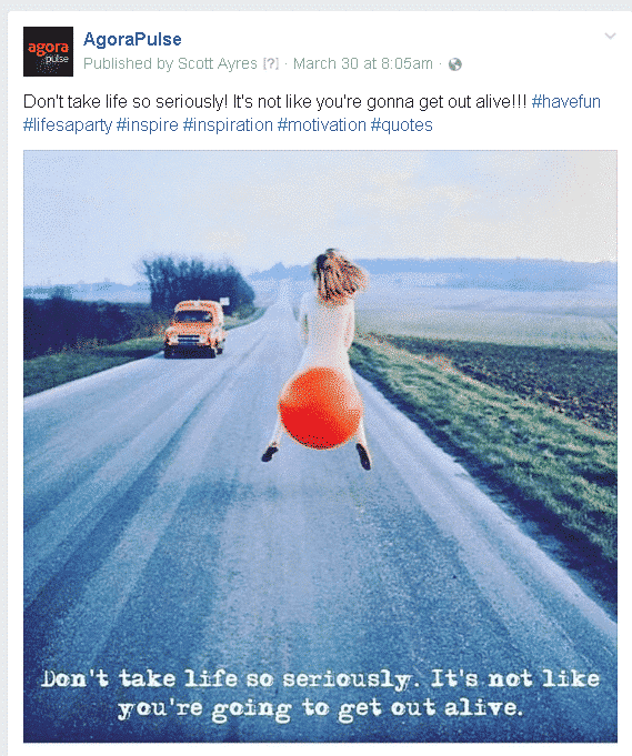 what a shared post from Instagram to our Facebook page looked like