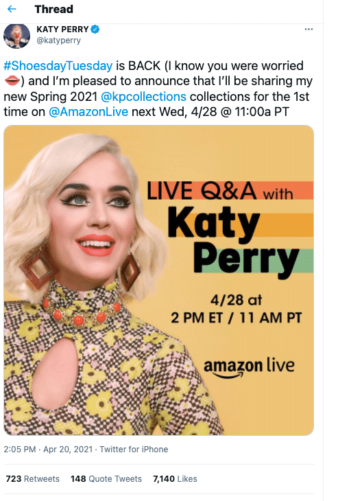 Katy Perry on Amazon Live