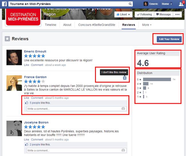 Reseñas de Facebook Páginas de Facebook