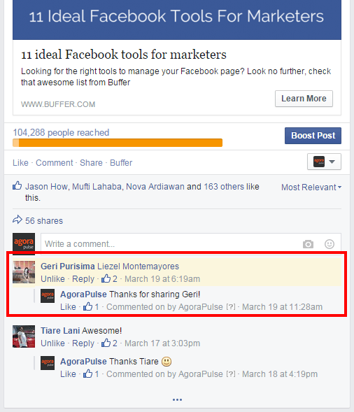 comments highlighted on Facebook