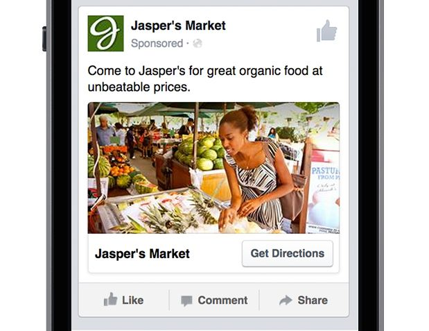 Local Awareness Ad on mobile news feed placement on Facebook