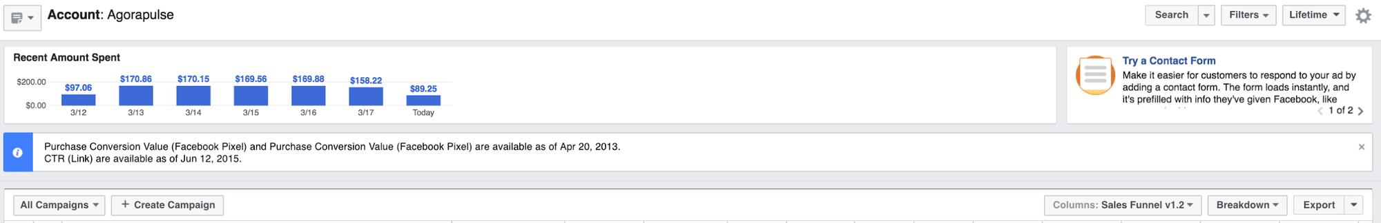 facebook ad spend
