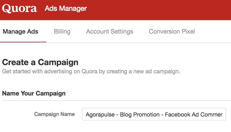 quora campaign naming