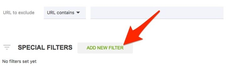 Click 'Add new filter' to access blog categories and more.