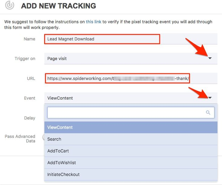 Create a 'conversion event' so you can measure conversions from your Facebook ads