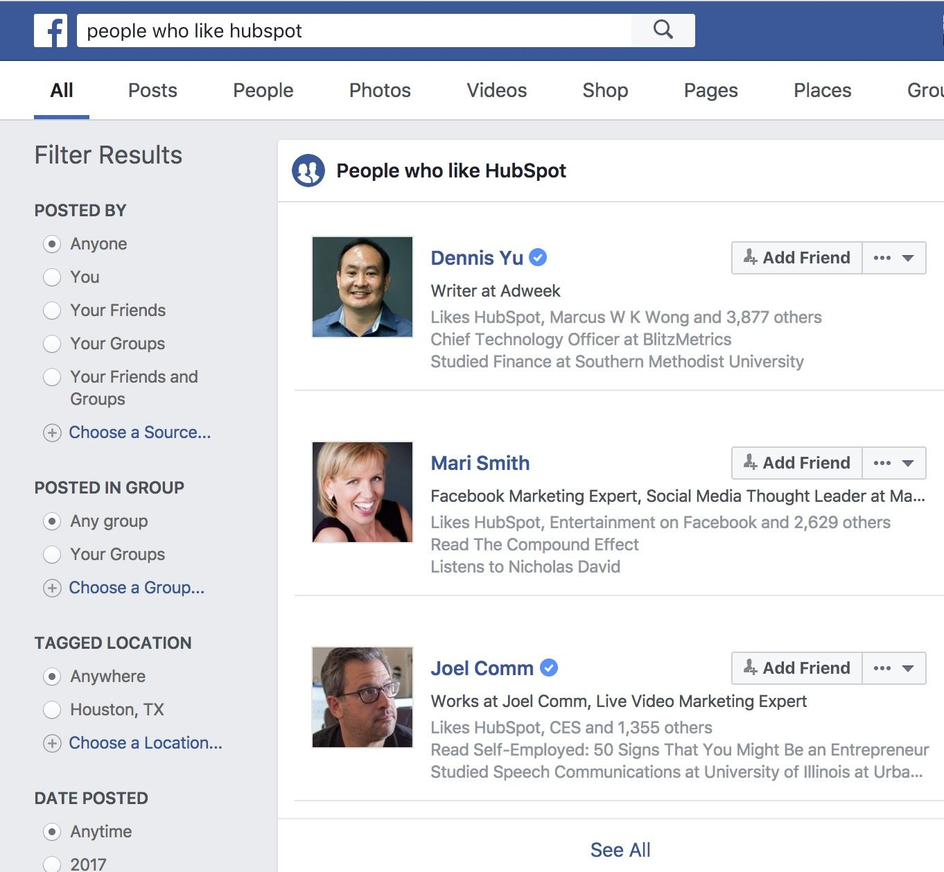 búsqueda en Facebook