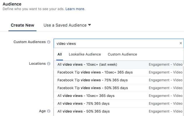 Video View Retargeting Audiences